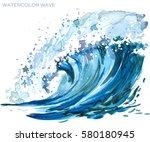 sea wave watercolor... | Shutterstock . vector #580180945