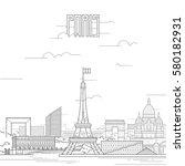 paris city with iconic...
