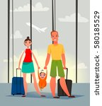family on vacation. | Shutterstock .eps vector #580185529