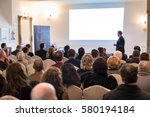 audience at the conference hall.... | Shutterstock . vector #580194184