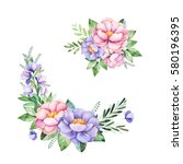beautiful floral collection... | Shutterstock . vector #580196395