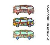 hippie bus set   hippie painted ... | Shutterstock .eps vector #580200901