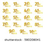 isolated golden color numbers... | Shutterstock .eps vector #580208041