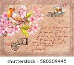 vintage post card with bird in... | Shutterstock . vector #580209445