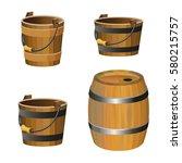 Set Of Vector Wooden Buckets On ...