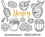 honey jar  barrel  spoon  bee ... | Shutterstock .eps vector #580218514