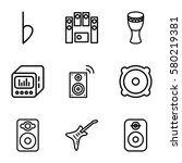 bass vector icons. set of 9... | Shutterstock .eps vector #580219381