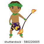hawaiian man dancing with fire. ... | Shutterstock .eps vector #580220005