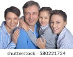 happy smiling family  | Shutterstock . vector #580221724