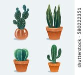set of four cactus in flower... | Shutterstock .eps vector #580222351