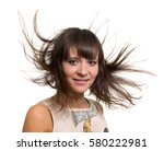 girl portrait with long blowing ... | Shutterstock . vector #580222981