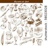 big vector set   doodle   food | Shutterstock .eps vector #58023028