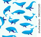 blue cartoon whales  seamless... | Shutterstock .eps vector #580232185