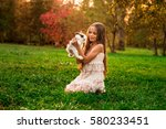 happy little child girl with... | Shutterstock . vector #580233451