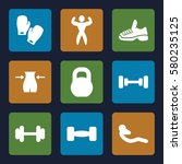 gym vector icons. set of 9 gym... | Shutterstock .eps vector #580235125