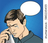 man in stress and crying.... | Shutterstock . vector #580235455