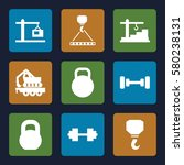lifting vector icons. set of 9... | Shutterstock .eps vector #580238131