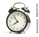 black classic style alarm clock ... | Shutterstock . vector #580239724