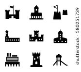 fortress vector icons. set of 9 ... | Shutterstock .eps vector #580251739