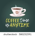 cartoon style cup and positive... | Shutterstock .eps vector #580252591