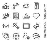 media vector icons. set of 16... | Shutterstock .eps vector #580252879