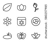 floral vector icons. set of 9... | Shutterstock .eps vector #580257985