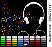 music is my life.headset with... | Shutterstock .eps vector #580275961