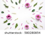 Stock photo froral pattern on white table background top view mockup 580280854