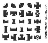 pipes  fittings and valves icon ...   Shutterstock .eps vector #580287814