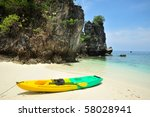 Beautiful beach and sea with longtail boat on Koh phiphi, Andaman Sea,Thailand - stock photo