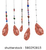 feathers  hanging on strings... | Shutterstock . vector #580292815