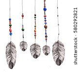 feathers  hanging on strings... | Shutterstock . vector #580292821