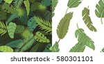 seamless pattern with leaves... | Shutterstock .eps vector #580301101