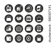 shopping icon set in circle... | Shutterstock .eps vector #580307191