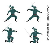 set of ninja character design... | Shutterstock .eps vector #580309924