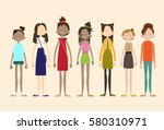 woman group casual people big... | Shutterstock .eps vector #580310971