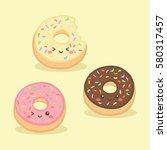 cute donuts doughnut vector... | Shutterstock .eps vector #580317457