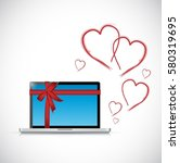 computer love gift with hearts...