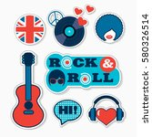 trendy british pop art musical... | Shutterstock .eps vector #580326514