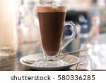 hot chocolate with whipped cream   Shutterstock . vector #580336285