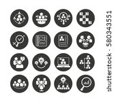 business management icon set in ... | Shutterstock .eps vector #580343551