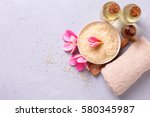 wellness setting. sea salt in... | Shutterstock . vector #580345987