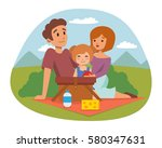 picnic setting with fresh food... | Shutterstock .eps vector #580347631