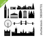 London, England landmark silhouettes vector | Shutterstock vector #580349731