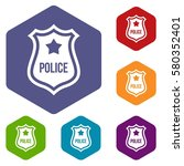 police badge icons set rhombus... | Shutterstock . vector #580352401