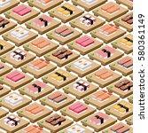 sushi japanese food japanese... | Shutterstock . vector #580361149