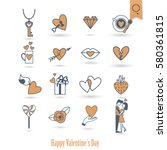 simple flat icons collection... | Shutterstock .eps vector #580361815