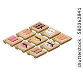 sushi japanese food japanese... | Shutterstock . vector #580362841