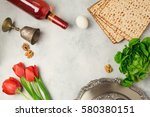 passover holiday concept seder... | Shutterstock . vector #580380151