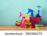 cleaning concept with supplies... | Shutterstock . vector #580380175